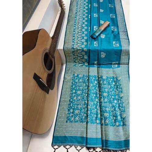 DRS03 - Raw Silk Saree with kalamkari woven Pallu