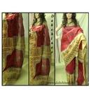 DKC1SKA2-VIR019-P - Handblock printed Vishnupuri Silk Saree