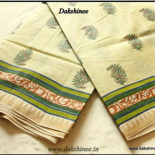 DKC1SCA2-KOG037- Soft Kora Silk Cotton Block printed Saree