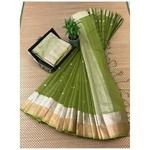DJB07-  Plain Linen Silk Saree with Silver Jari Border Saree