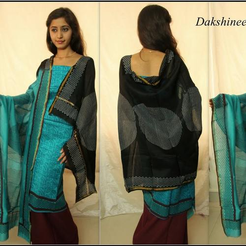 Block printed Chanderi Silk Salwar Suit