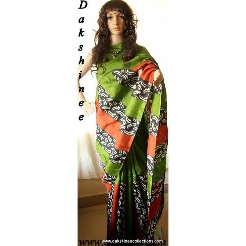 DKC1SKA2-P-MUG046-  Block printed murshidabad Silk Saree