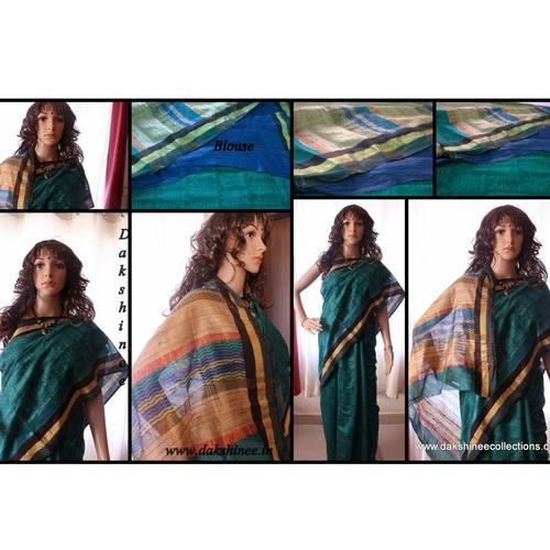 DKC1SKA2-MHG009-P - Block printed Maheshwari and Geecha SIlk Saree