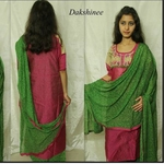 Block printed  and embroidered chanderi Silk Salwar Suit