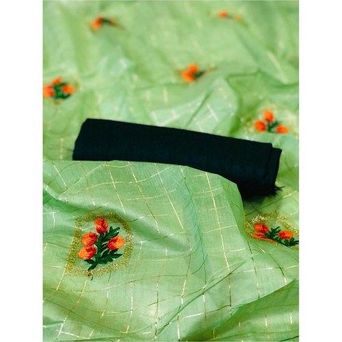 DFM02 - Fabric Modal cotton checks saree with banglori Silk blouse