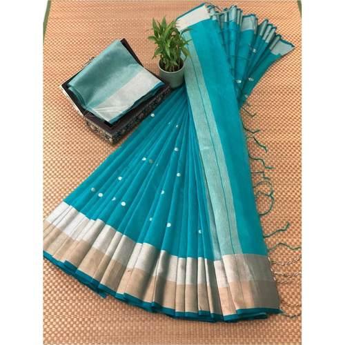 DJB03-  Plain Linen Silk Saree with Silver Jari Border Saree