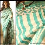 DKC1SCA2-KOG038 - Kora Silk Cotton Block printed Saree