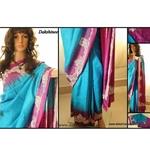 DKC1SKA2-P-TUB059-P - Embroidered Pure Tussar Silk Saree