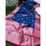 DSS02-  Soft Silk saree with silver zari border