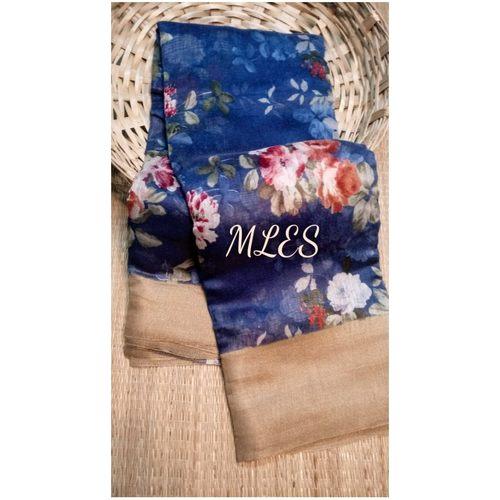 DLS12- Floral Linen Silk Sarees