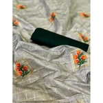 DFM06 - Fabric Modal cotton checks saree with banglori Silk blouse