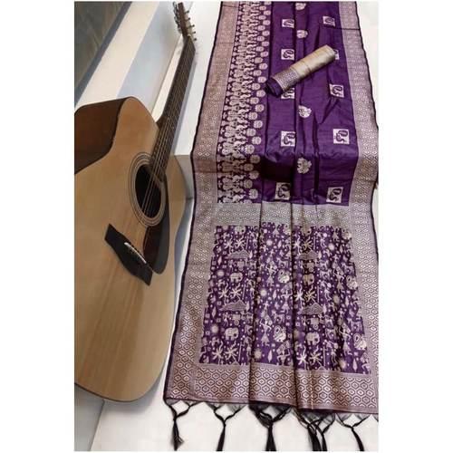 DRS05 - Raw Silk Saree with kalamkari woven Pallu
