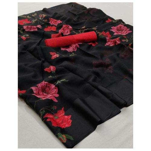 DKSL03 - Soft Linen FLoral Silk Saree