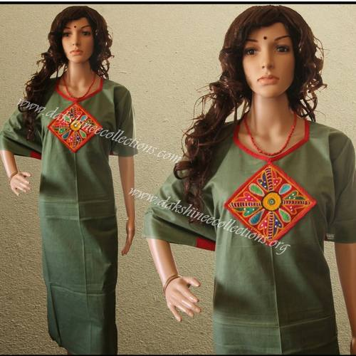 semi stitched hand embroidered kurti