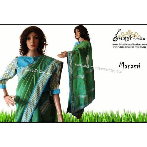 DKC1SCA12-SCG050 - Designer ikkat bordered Silk cottons saree