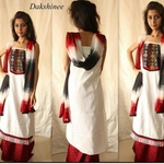 Hand embroidered block printed salwar suit