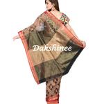 DKC1SCA15-RSR001 - Jamdaani woven half and half raw silkcotton saree with blouse