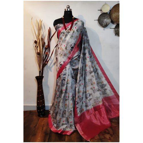DKKS34 - Linen Saree with Ikkat Digital Print