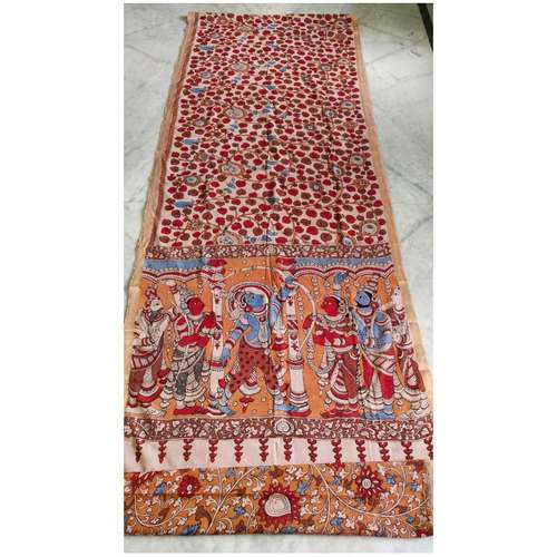 DK04 - Vegetable coloured Mangalgiri cotton Kalamkari Sarees