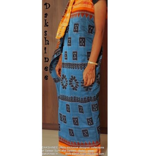 DKC1COA8-SPB003-R - Handloom Ikkat Cotton saree