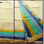 DKC1SCA2- KOW031 - Soft Kora Silk Cotton Block printed Saree