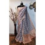 DKKS36 - Linen Saree with Ikkat Digital Print