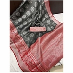 DKM01 - Kora Muslin Saree with Jacquard woven pallu