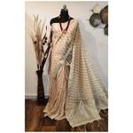 DKKS30 - Linen Saree with Ikkat Digital Print