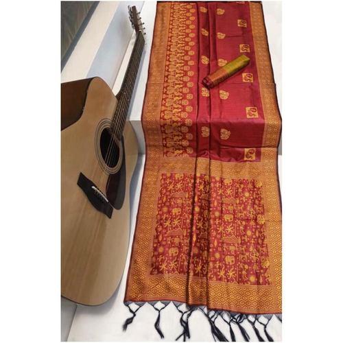 DRS02 - Raw Silk Saree with kalamkari woven Pallu