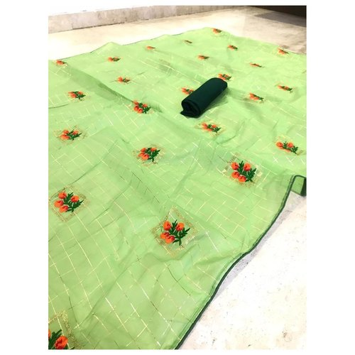 DFM05 - Fabric Modal cotton checks saree with banglori Silk blouse