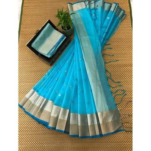 DJB02-  Plain Linen Silk Saree with Silver Jari Border Saree