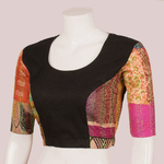 Black Silk Kantha Patch blouse with tie ups