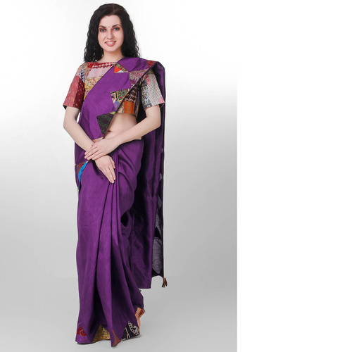 Purple Dupion Silk Kantha Applique Saree