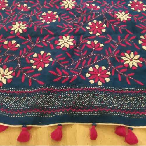 Navy Cotton Hand Kantha Embroidered Dupatta
