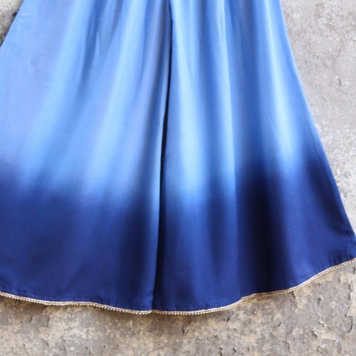 Blue Ombre Embellished Cotton Silk Palazzo