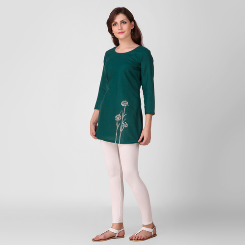 Green Floral Embroidered Cotton Tunic