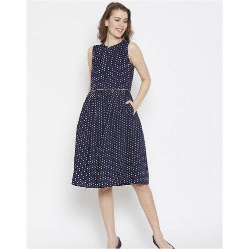 Navy Polka Midi Dress