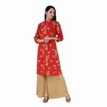 Red Gold printed Kurta