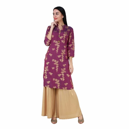 Purple Gold Printed Kurta