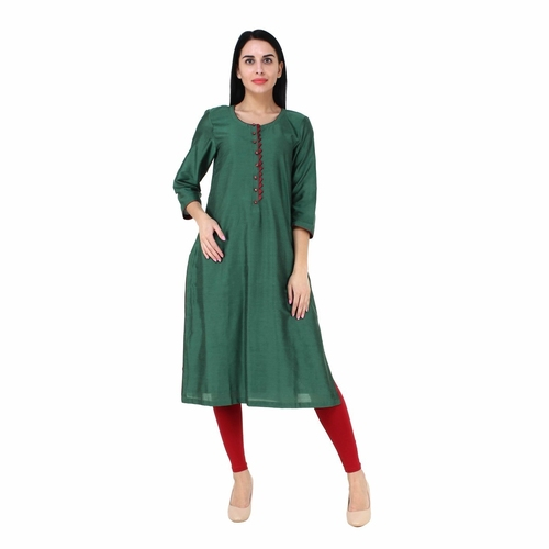 Green cotton silk Kurta