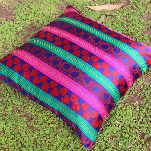 Woven Leaf pattern Cushion Cover (Set Of 2)