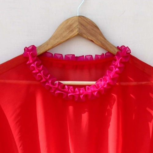 Red Pink Ombre Dyed Chiffon Kaftan