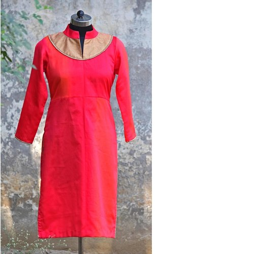 Pink Shaded Silk Chanderi Yoke Kurta