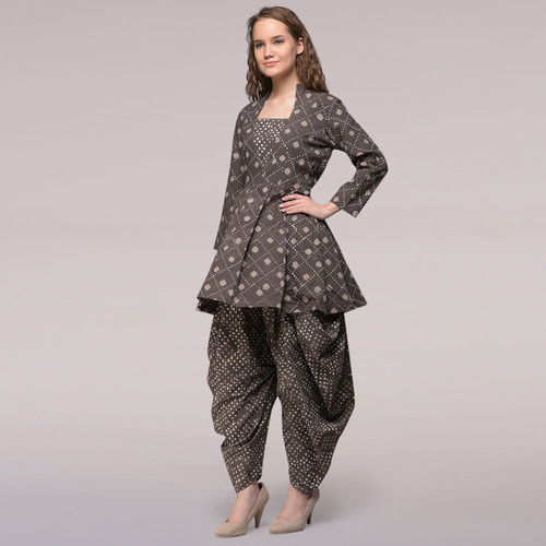 Grey Pleated Dabu-printed Cotton Tunic with Dhoti Pants Set of 2