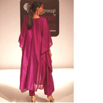 Silk chanderi Ombre dyed Embroidered Kaftan with Pants Set of 2
