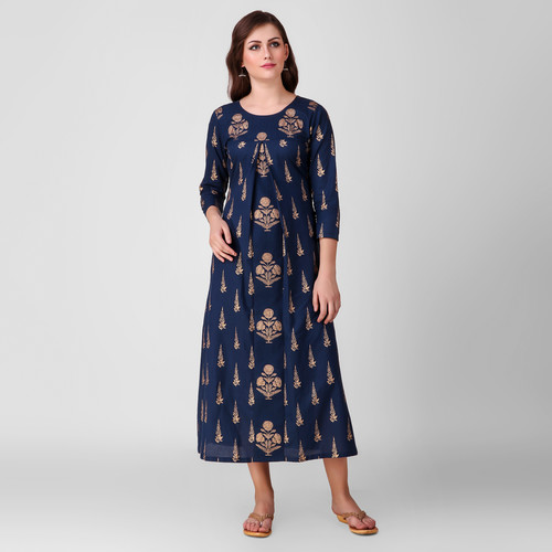 Blue Gold Printed Cotton Dress
