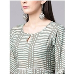 Grey & Blue Stripe Printed Dress With Ladder Lace