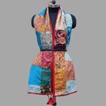 Reversible Kantha Silk Patchwork Stole with decorative trim
