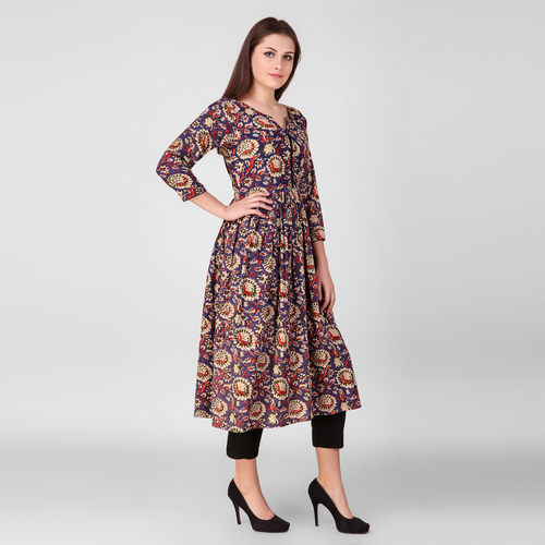 Floral Gathered Printed Kurta