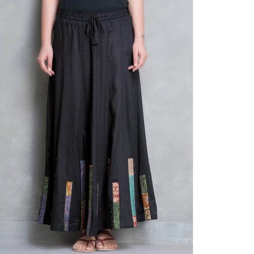 Black Cotton Silk Kantha Patch Skirt